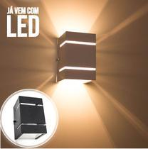 Arandela Preta + LED 5W 3000k luminária Externa Parede Muro  2 Focos Frisos Fachos St327 - STARLUMEN