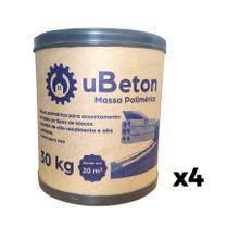 Argamassa Polimérica Cola Bloco/tijolo - Barrica 30kg - 4 unid (120 kg) uBeton -