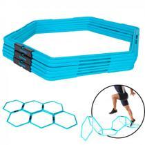 Argolas Obstaculos de Agilidade Hexagonal Training Ring Azul Turquesa 6 Unidades  Liveup -