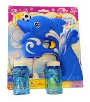 Arma Pistola Toys Lança Bolhas Bolinha Sabão Kids Musica Led cor azul - Bubble