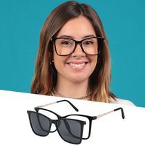Armação De Grau Óculos De Sol Clipon Feminino Preto Isabela Dias -