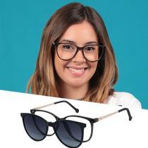 Armação De Grau Óculos De Sol Clipon Feminino Redondo Cinza Isabela Dias -