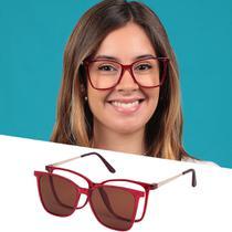 Armação De Grau Óculos De Sol Clipon Feminino Vermelho Isabela Dias -
