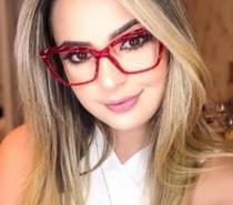 Armação De Óculos Para Grau Feminina Design Lapidado Facetado Cristal Vermelho - Tr90
