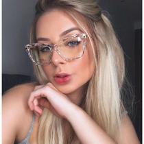 Armação De Óculos Para Grau Feminina Facetada Transparente - Tr90