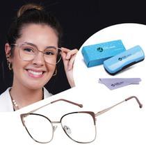 Armação Óculos De Grau Feminino Gatinho Quadrado Metal Isabela Dias 8030 -