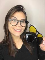 Armação Óculos Grau Clipon Sol Feminino 2 Em 1 France Preto - Palas Eyewear