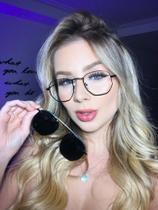 Armação Óculos Grau Clipon Sol Feminino 2 Em 1 Hexagonal Preto - Palas Eyewear