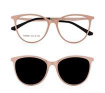 Armação Óculos Grau Clipon Sol Feminino Gatinho 2 Em 1 Rita Nude Lentes Marrom - Palas Eyewear