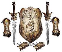 Armadura Espada Medieval Fantasia Gladiador Infantil Dourada - Top one