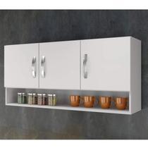 Armário Aéreo de Cozinha 3 Portas 1 Nicho Arte Móveis Branco -