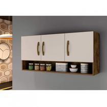 Armário Aéreo de Cozinha 3 Portas 1 Nicho Arte Móveis Ipê/Off White -