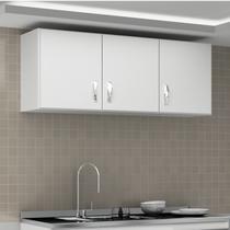 Armário Aéreo de Cozinha 3 Portas Carolina Evidência Móveis Branco -