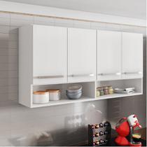 Armário Aéreo Móveis De Cozinha Multiuso 4 Portas Branco - Brienza Decor