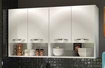 Armário Aéreo Móveis De Cozinha Multiuso 4 Portas Branco - Clickforte