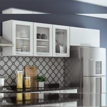 Armário Aéreo para Cozinha 3 portas com 3 vidros e Armário 1 porta Basculante Tarsila Itatiaia Branco -