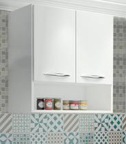 Armário Aéreo Para Cozinha ou Lavanderia com 2 Portas Branco - Magazine Rm