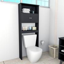 Armário Banheiro 2 Portas 3 Prateleiras Slim Preto Appunto -