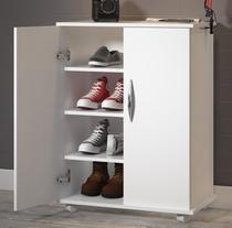 Armário Branco Multiuso Balcão c/ Prateleiras Sapatos Livros - Clickforte