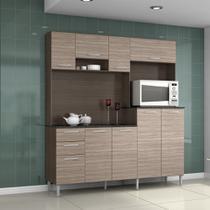 Armário Cozinha Compacta Gisele 9 Portas 2 Gavetas Cappuccino/Amêndoa  - Poquema -