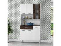 Armário Cozinha Compacto Kits Paraná Golden - 6 Portas e 1 Gaveta - White e Petróleo - Kits Parana