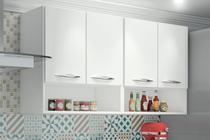 Armário Cozinha Multiuso c/ Puxadores 2 Nichos 4 Portas Branco - Magazine Rm