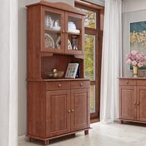 Armário Cristaleira para Cozinha Linha Rubi Imbuia 04 Portas e Vidro Liso Incolor 02 Gavetas Madeira Maciça Pinus - Finestra -
