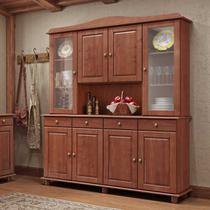 Armário Cristaleira para Cozinha Linha Rubi Imbuia 08 Portas e Vidro Liso Incolor 04 Gavetas Madeira Maciça Pinus - Finestra -