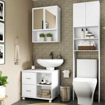 Armário de Banheiro c/ espelho e 2 portas, Balcão de Pia e Armário p/ Vaso Sanitário Multimóveis Bco -