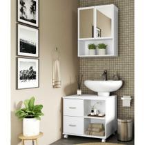 Armário de Banheiro com espelho e 2 portas e Balcão de Pia Multimóveis Branco -