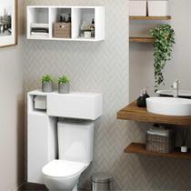 Armário de Banheiro p/ vaso sanitário c/ suporte para papel higiênico e Nicho Decorativo Multimóveis -
