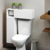 Armário de Banheiro para vaso sanitário  c/ suporte para papel higiênico e 2 Portas Multimóveis Bco -