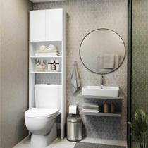 Armário de Banheiro para Vaso Sanitário com 2 portas Multimóveis Branco -