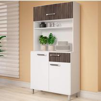 Armário de Cozinha 3 Portas 1 Gaveta Siena Móveis Branco/Carvalho -
