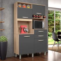 Armário de Cozinha 4 Portas 2 Gavetas Jr Nesher Móveis Cedro/Grafite -