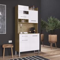 Armário de Cozinha 4 Portas e 1 Gaveta Decibal Wood/Branco -