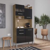 Armário de Cozinha 4 Portas e 1 Gaveta Decibal Wood/Preto -