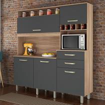 Armário de Cozinha  5 Portas 2 Gavetas com Nicho e Adega Smart Cedro/Branco Nesher - Nesher Moveis