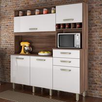 Armário de Cozinha 5 Portas 2 Gavetas Smart Nesher Móveis Branco/Madeirado -