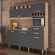 Armário de Cozinha 5 Portas 2 Gavetas SmartNesher Móveis Cedro/Grafite -
