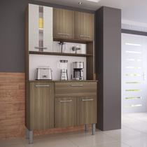 Armário de Cozinha 6 Portas 1 Gaveta Melissa Genialflex Castanho/Mel 3D -