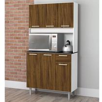 Armário de Cozinha 6 Portas 1 Gaveta Pop Zanzini Branco/Nogal -