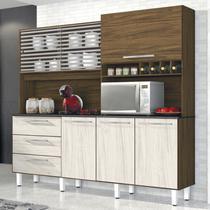Armário de Cozinha 6 Portas 3 Gavetas Mega Espresso Móveis Nogal/Nevada -