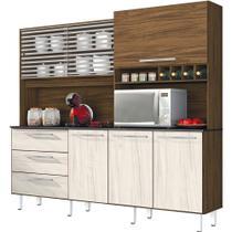 Armário de Cozinha 6 Portas 3 Gavetas Mega Nogal/nevada - Zanzini -