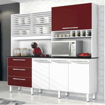 Armário de Cozinha 6 Portas 3 Gavetas Mega Siena Móveis Branco/Bordô -