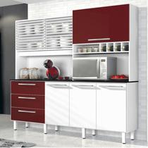 Armário de Cozinha 6 Portas 3 Gavetas Mega Yescasa Branco/Bordô -