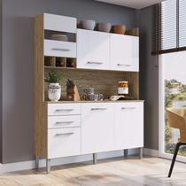 Armário de Cozinha 6 Portas e 2 Gavetas Decibal Wood/Branco -