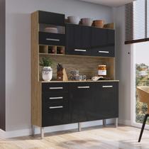 Armário de Cozinha 6 Portas e 2 Gavetas Decibal Wood/Preto -