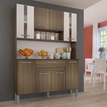 Armário de Cozinha 8 Portas 1 Gaveta Anie Genialflex Castanho/Mel 3D -
