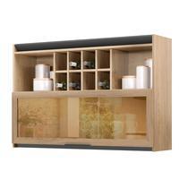 Armário de Cozinha com nicho Thela Hibisco 120 cm Aveiro/Grafite -